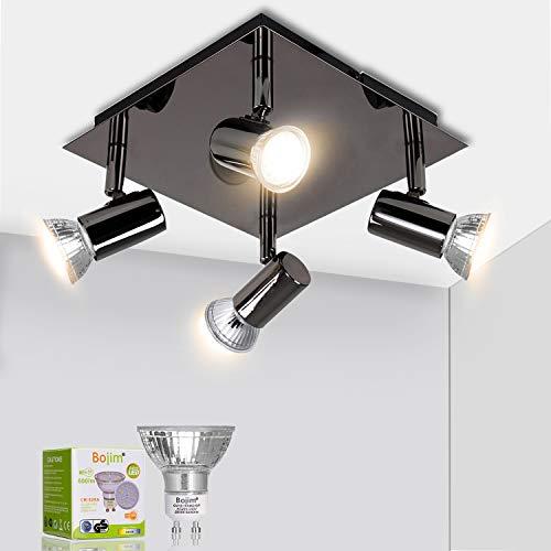 Bojim Luminaire Plafonnier LED 4 Spots Orientables Carré Moderne en Chrome Noir, 6W GU10 2800K Blanc Chaud AC220-240V IP20, Luminaire Plafond pour Salon Salle à Manger Cuisine, Ampoules Incluses