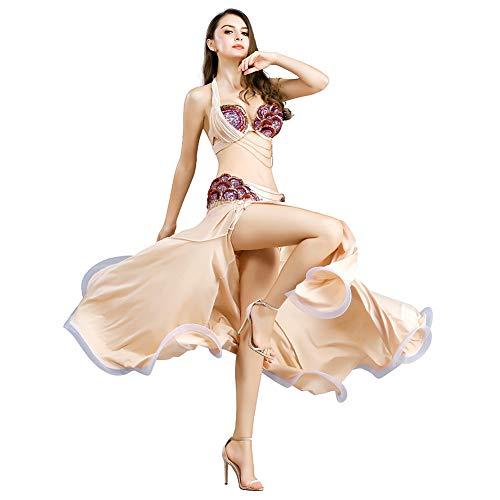 ROYAL SMEELA Bauchtanz Rock BH Kostüm Set Frauen die formales Kleid tanzen Wunderschöner Neckholder-BH Pailletten-Quaste und Lange Maxiröcke Karneval Party Tanzkleidung Anzug