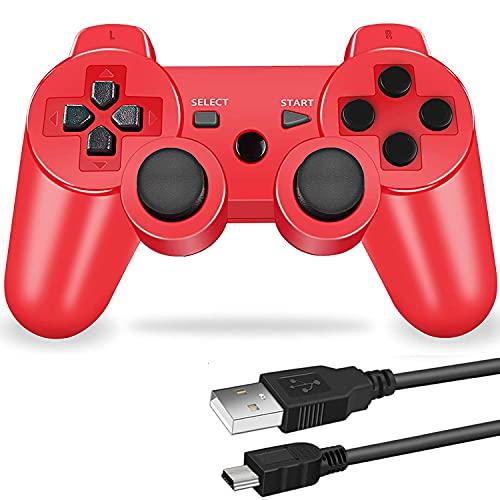 PS3 用 ワイヤレスコントローラー 6軸センサー DUAL SHOCK3 ゲームパット 互換対応 USB ケーブル 日本語説明書 1年保証付き (赤)