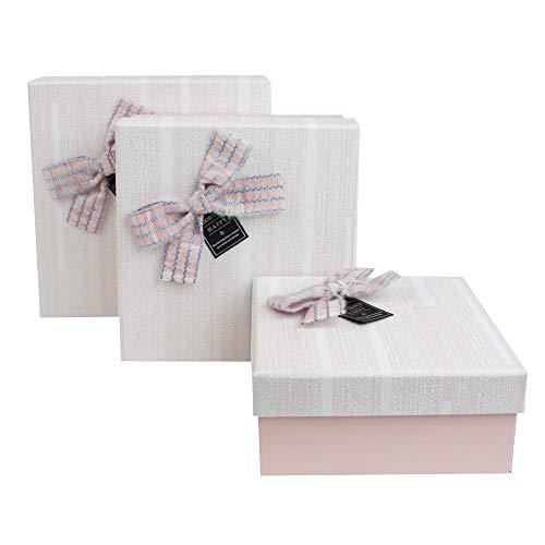 Emartbuy Set di 3 Lusso Rigido Confezione Regalo a Forma Quadrata, Scatola Rosa Baby Con Coperchio Testurizzato, Interni Color Cioccolato e Fiocco Decorativo a Strisce