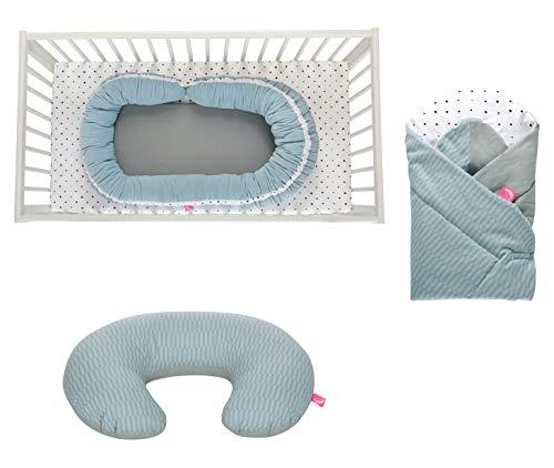 Erstlingsset Motherhood/Baby Geschenk zur Geburt, Öko-Tex Standard - bestehend aus: Babynest + Stillkissen + Einschlagdecke SOFT (Palisaden blau)