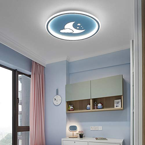 Lámparas de techo para niños, Plafón LED de luna creativa, regulación inteligente de atenuación continua, luz de techo para dormitorios de niños y niñas