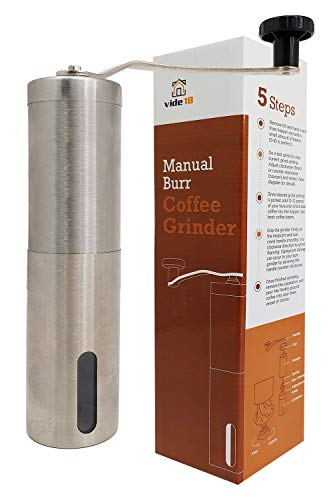 Portable Manual Coffee Grinder by vide18, High-quality Brushed Stainless Steel, Ceramic Blade, Conical Burr Coffee Bean Grinder for Home, Travel & Camping