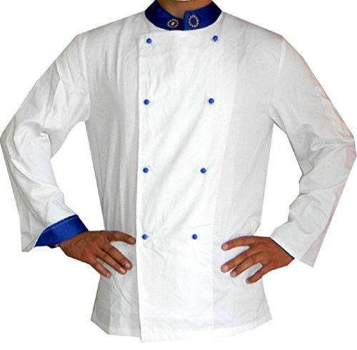 Menitashop Giacca Cuoco Chef Uomo Divisa per Cucina Ristorante Bar Pasticceria (Bianca Europea, XXXL)
