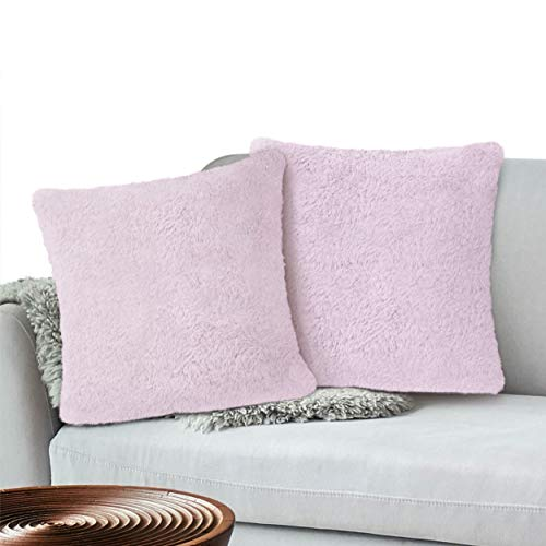 PAVILIA Sherpa Plush Throw Pillow Cover, Set of 2, Lavendar Purple   Soft Solid Decorative Shaggy Square Cushion Case for Sofa Couch   18x18 Inches
