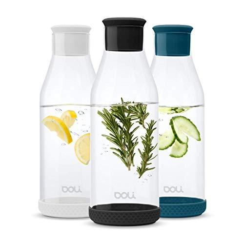 Doli Bottles Premium Glaskaraffe mit Deckel 1,5 L | Wasserkaraffe mit Silikondeckel und Silikonfuß | eleganter Wasserkrug | aromadicht verschließbar | für Wasser, Eistee, Milch, Saftschorlen (Schwarz)