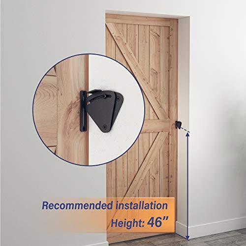 Product Image 4: SMARTSTANDARD Barn Door Large Size Latch Lock Black Privacy Latch Lock for Sliding Door Work for Pocket Doors Garage and Shed Wood Glass Gates