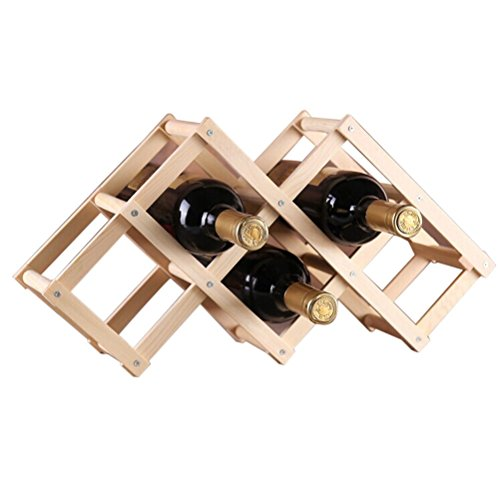 Tinksky Plegable Botellero de Madera para 6 Botellas Armarios de Vino (Madera Color)