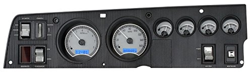Dakota Digital Aftermarket Analog Gauge System for 68-70 Dodge Charger Super Bee 69-70 Coronet R/T, 70 Plymouth GTX and Road Runner Silver Alloy Blue Backlighting VHX-68D-CHG-S-B