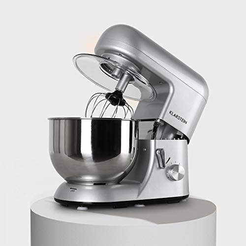 Klarstein Bella Argentea - Küchenmaschine, Rührmaschine, Knetmaschine, 1200 Watt, 1,6 PS, 5,2 Liter, planetarisches Rührsystem, 6-stufige Geschwindigkeit, Edelstahlschüssel, silber