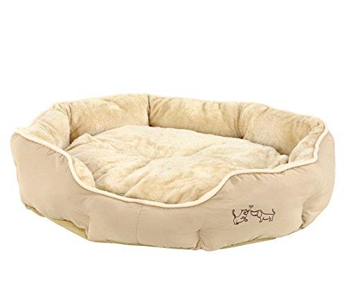 Dehner Hunde- und Katzenbett Sammy, oval, ca. 90 x 80 x 14 cm, Polyester, beige