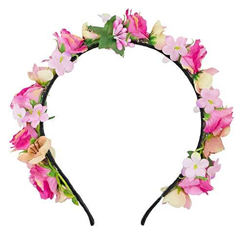 Trachtenland Blumen Haarreif Sabia - Pink Creme
