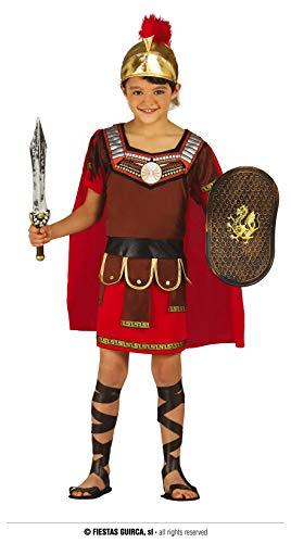 Fiestas Guirca Mächtiger Römischer Krieger - Jungen Gladiator Kostüm Alter 5 - 6 Jahre inkl. Römerhelm mit Helmbusch, Tunika u. Umhang - für Karneval / Fasching oder Themen Party