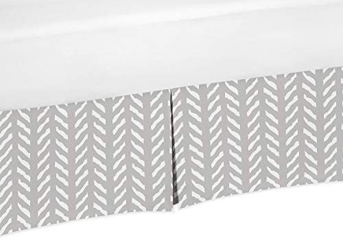 Sweet Jojo Designs Grey and White Boho Herringbone Arrow Pleated Toddler Bed Skirt Dust Ruffle for Gray Woodland Forest Friends Collection