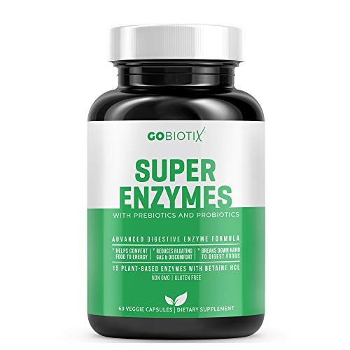 Super Enzymes by GoBiotix   15 Plant Based Digestive Enzymes w/ Prebiotics, Probiotics & Bioperine for Absorption   Supports Gut Health, Digestion, Lactose Absorption & Leaky Gut Prevention   60 Count