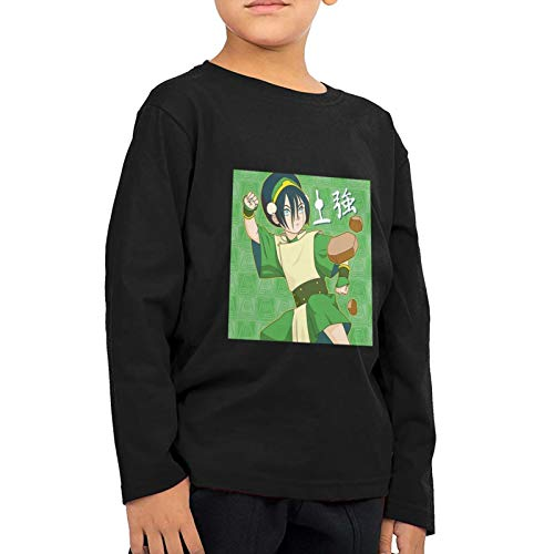 Unisex Children's Avatar The Last Airbender Toph Earth Kingdom Cloth Long Shirts Girls and Boys Tee 2t Black