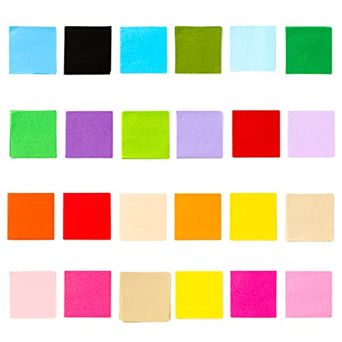Exquiss 2400 Sheets Tissue Paper Squares 4 inch Bulk 24 Colors for Art Paper Craft Scrunch Art Kids Craft DIY Craft Tracing Scrapbooking Embellishments Mural Rainbow School Supplies
