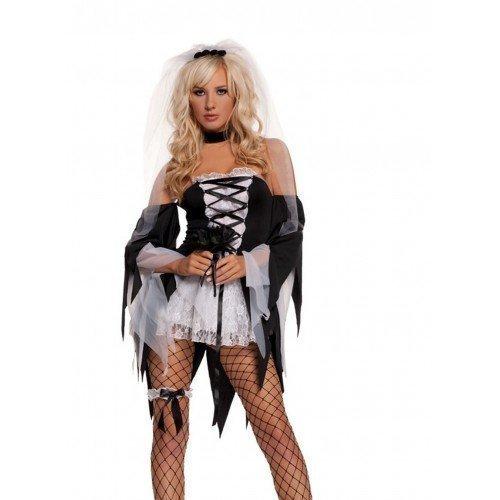 Femme Motif tête de mort Noir/Blanc mariée Divorce Party On Fancy Dress Costume d'Halloween, taille 36-38