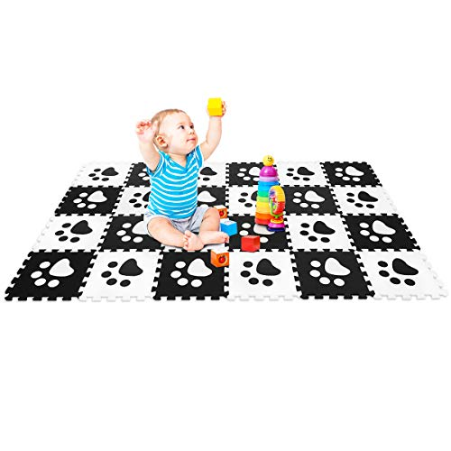 GOPLUS Puzzlematte 24 Stücke, Spielmatte für Babys und Kinder, Kindermatte, Puzzleteppich aus Eva, Steckmatte, 30x30cm