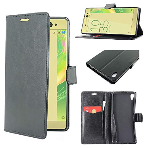 ebestStar - kompatibel mit Sony Xperia XA Ultra Hülle XA Ultra/Dual Kunstleder Wallet Hülle Handyhülle [PU Leder], Kartenfächern, Standfunktion, Schwarz [Phone: 164 x 79 x 8.4mm, 6.0'']