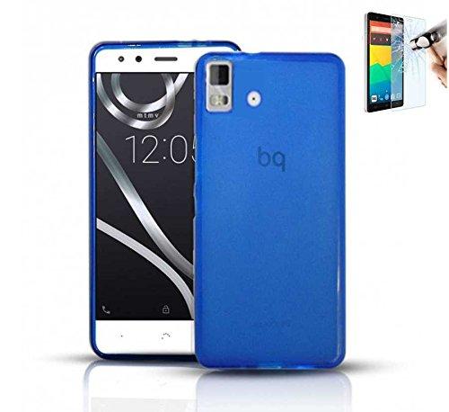 Todobarato24h Funda TPU Lisa Compatible con BQ AQUARIS E5 HD FHD Azul + Protector DE Cristal Templado