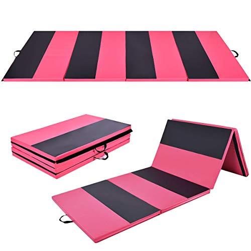 Giantex 4'x10'x2 Gymnastics Mat Folding Panel Thick Gym Fitness Exercise (Pink/Black)