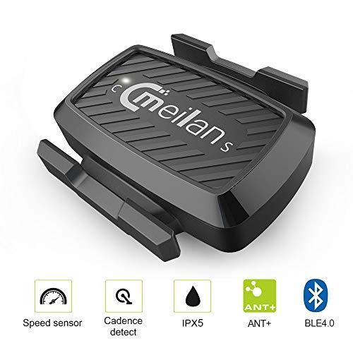 MEILAN C1 Drahtlose Geschwindigkeits- und Trittfrequenzsensor Wireless Bluetooth BLE4.0 für iPhone and Android APP, ANT+ Verbindung mit Fahrradcomputer oder Sportuhren, Wasserdicht