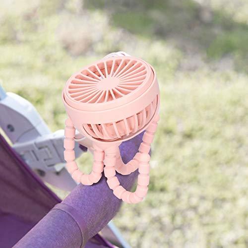 Tres engranajes de viento, Ventilador portátil, Ventilador de soporte, para hogares para bibliotecas,(Rosa, Tipo de torre inclinada de Pisa)