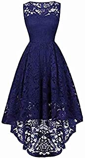 Yi Yi Womens Sleeveless Elegant Floral Lace High Low Formal Bridesmaid Swing Dress