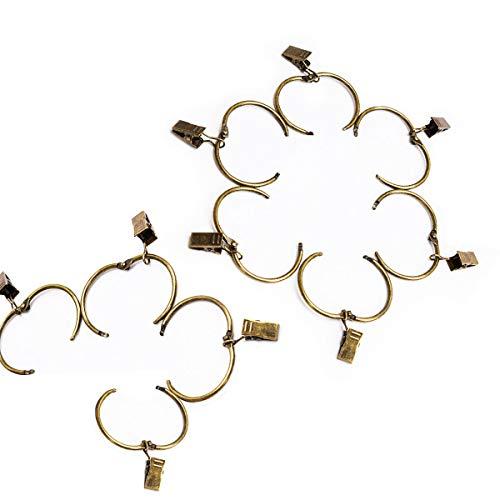 N-A Clip de cortina, 10 unidades de anillos de cortina de metal para decoración de baño, dormitorio, bronce