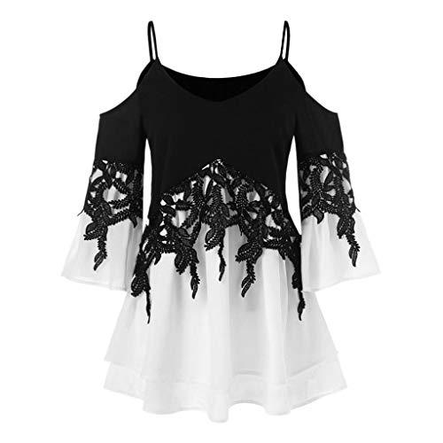 ESAILQ Frauen Applique Flowy Chiffon trägerlose Bluse Shirt(XL,Schwarz)