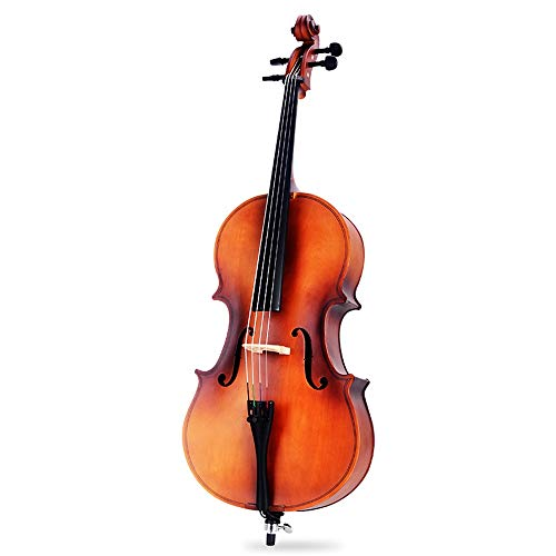 Miiliedy Excelente Sonidos calmantes hechos a mano Violonchelo Principiante Adulto Niño Violonchelo Práctica tocando instrumento con estuche para violonchelo Arco Colofonia de colofonia Conjunto adici