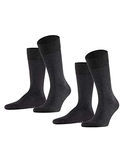 FALKE Herren Happy 2-Pack M SO Socken, Grau (Anthracite Melange 3080), 43-46 (2er Pack)