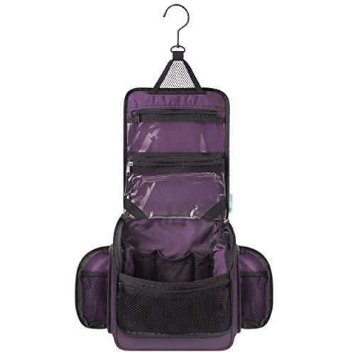 Bolsa de higiene para pendurar para viagem premium para homens e mulheres com compartimentos expansíveis para cosméticos, pincéis de maquiagem, joias, ferramentas de barbear, bolsa transparente removível TSA, Port Purple, One_Size