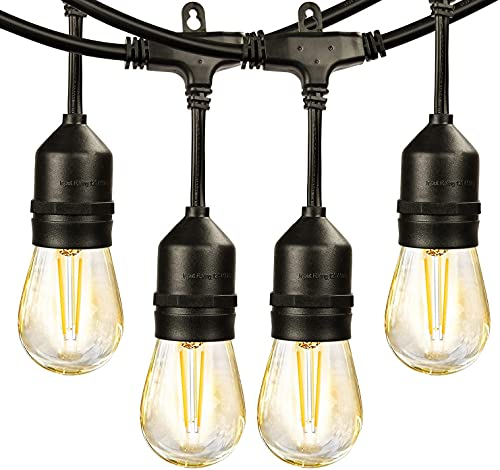 Hidixon Outdoor Garden String Lights, 49.6ft S14 15+1(Spare) Bulbs Patio Outside String Lights LED IP65 Waterproof Outdoor Festoon Lights Decoration for Backyard Wedding Bedroom Home Cafe Party