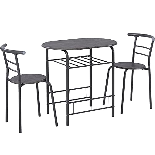 3 Piece Dining Table Set, 1 Dining Table and 2 Chairs Kitchen Breakfast Dining Table Set with Metal Frame