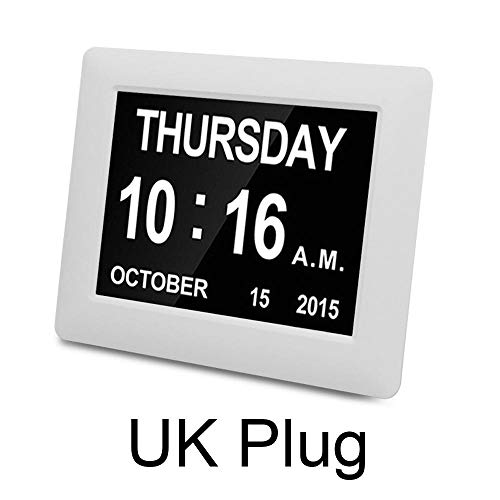 FPRW Digitale LED-dagklok met kalender-demenzalarm, tijd datum maand jaar opslagverlies Lectronic extra groot display digitale klok wit Uk-stekker