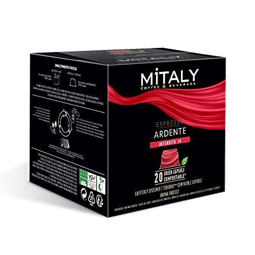 MITALY - CÁPSULAS COMPOSTABLES - Caja de 20 cápsulas Compatible con máquinas de café Caffitaly/Tchibo®* - Espresso Ardente