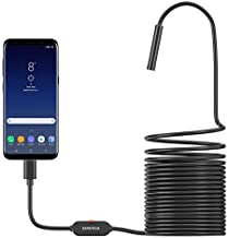USB Endoscope UHD Inspection Camera with 0.33in, DEPSTECH 5.0MP IP67 Waterproof USB Borescope, 6 Adjustable LED, Compatible with Android(OTG) Phone, Windows, MacBook PC (5m/16.5FT)