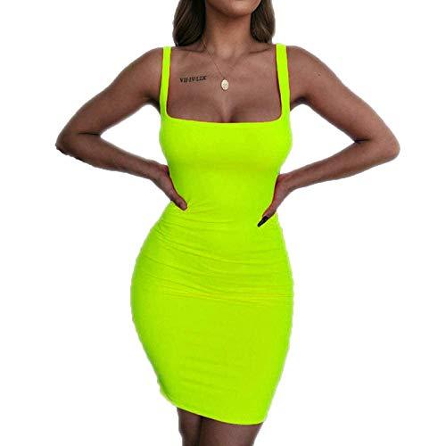 Kleid Damen, Casual Sleeveless Ab Schulter Sexy Kleider Elegante Rückenfreies Club Party Sexy Wrap Neon Kleid Mini Kleid Charmante Hips-Wrapped,Grün,XL