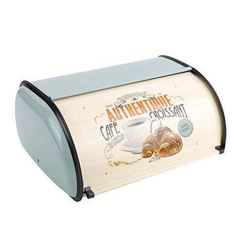 Cajas de pan de metal para almacenamiento en encimera de cocina con tapa, 13.6 x 9.1 x 5.7 in(Azul)