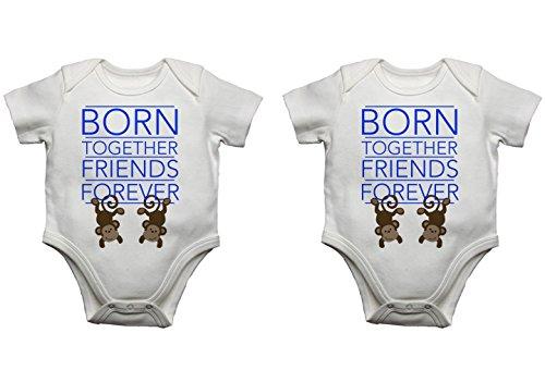 Born l'Friends Forever Twin Baby bodies bodies débardeurs Lot (0–3 mois, Bleu/rose)