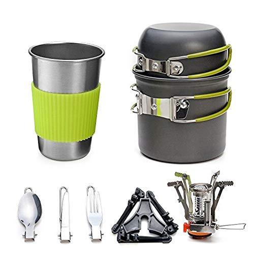 C/N Juego de utensilios de cocina para camping con olla, cacerola, cuchara, tenedor, portátil, plegable, para viajes, senderismo, picnic