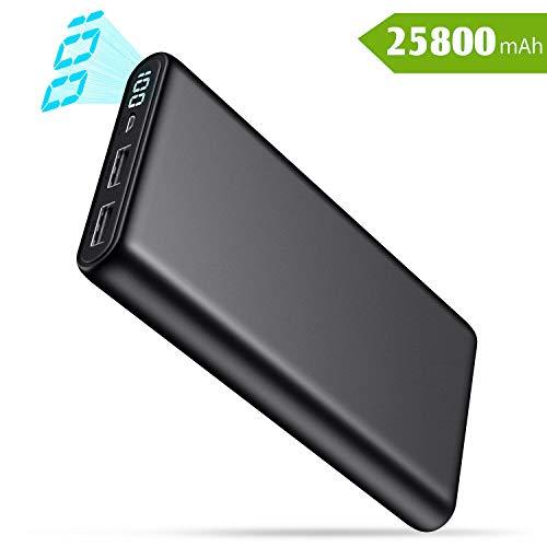 QTshine Batterie Externe, [25800mAh Haute-Capacité] Power Bank avec Écran LCD Portable Chargeur 2 Ports USB Sortie Haute Vitesse Compatible avec Android/iOS Tablettes et Autres Smartphones