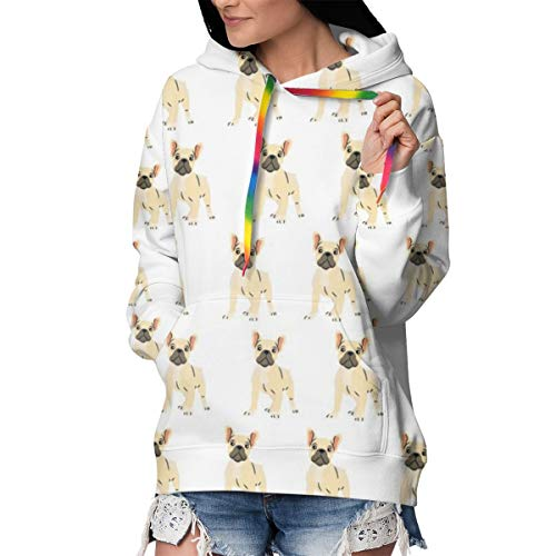 Plus Velvet Thickening Hoodie with Pocket for Camping Running Yoga, Women & Girls French Bulldog Lovely Pullover Hoodie Hooded Sweatshirt, Slim Long Sleeves Sport Tops