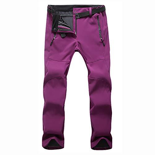 HUSTLE Damen Outdoorhose Wasserdicht Wasserdicht Winddicht Winter Warm Gefüttert Skihose Snowboardhose Trekkinghose,Purple red,XXL