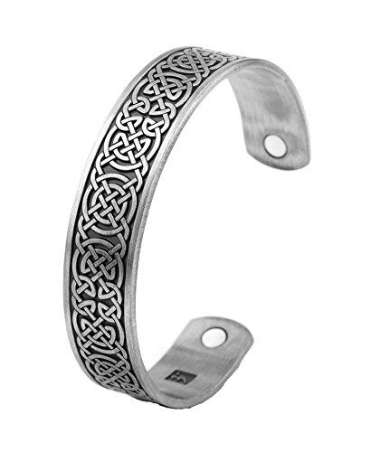 LIKGREAT Pulsera con nudo irlandés celta de la suerte, brazalete magnético vikingo para hombres y mujeres