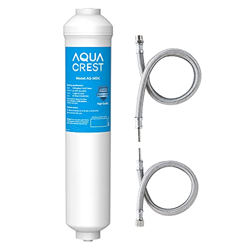 AQUACREST 5KDC Inline Water Filter for Under Sink, Refrigerator, Ice Maker, 5K Gallons Ultra High Capacity, Stainless Steel Hose Direct Connect Fittings, 0.5 Micron, Reduce Chlorine, Bad Taste, Odor