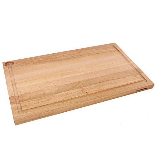 NATUREHOME Schneidebrett Holz groß massiv Tranchierbrett Küchenbrett ca. 58x36x3 cm