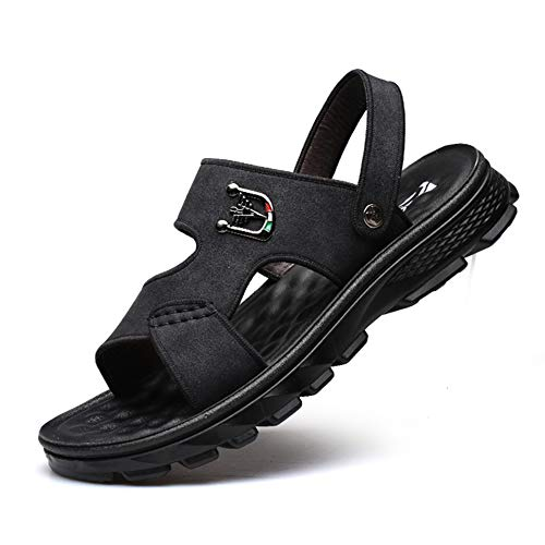 ZDGM Sandalias de Cuero Hombre, Trekking Moda Masculina al Aire Libre Plataforma atlética Agua Playa Zapatos Senderismo Sandalia Zapatillas,Negro,38EU